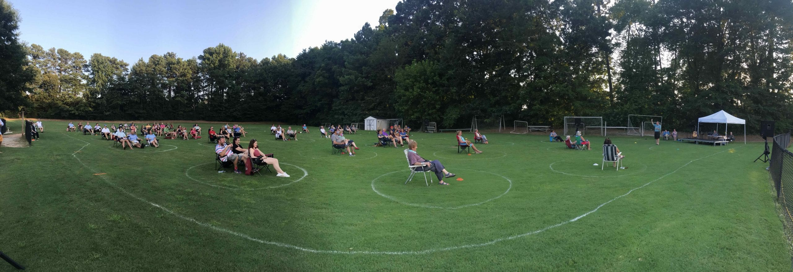 Outdoor worship on DUMC ball field